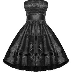 Hearts and Roses London Strapless 1950s Dress ($41) ❤ liked on Polyvore featuring dresses, vintage prom dresses, strapless dresses, rose dress, vintage rose dress and goth dresses