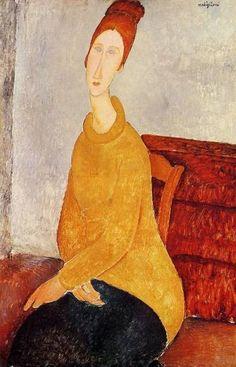 """Jeanne Hebuterne in a Yellow Sweater"" - Amedeo Modigliani"