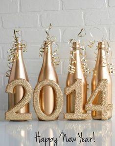 Flaschendeko zu Weihnachten spray golden 2014