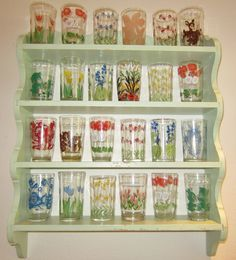 Cute Vintage Juice Glass Collection on Kitchen Display Shelf
