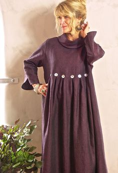 Winter Button Dress in winter weight linen. Also available in dark brown and slate blue.