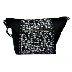 Addicted Black and White Skulls Tote Sling Bag : Purses & Bags