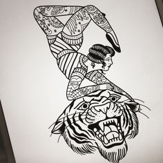 Turn the tiger into a lion and you've got a Strength tattoo card tattoo
