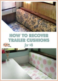 Easily update your trailer cushions with this DIY tutorial for re-covering cushions with vinyl tablecloths.