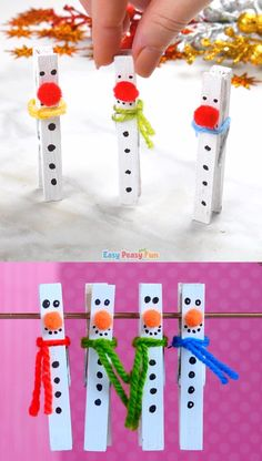 This clothespin snowman craft is super cute and these little fellows will look great pretty much everywhere, holding your favorite notes, holding gift tags and more. gift videos Clothespin Snowman Craft for Kids to Make Christmas Crafts For Kids To Make, Christmas Ornament Crafts, Snowman Crafts, Christmas Activities, Xmas Crafts, Kids Christmas, Halloween Crafts, Christmas Decorations, Christmas Gifts
