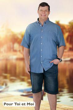 Chemise homme grande taille se décline en diverses couleurs pour une saison estivale confortable. XL à 8XL. Accompagne à merveille le short en jeans #style #homme #fort Short En Jean, Father, Button Down Shirt, Men Casual, Collection, Jeans, Mens Tops, Shirts, Fashion