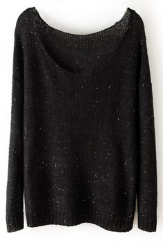 #SheInside Black Long Sleeve Sequined Loose Pullovers Sweater