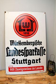 Emailleschild Emailschild Emaille Würtenbergische Landessparkasse Stuttgart xxl in Sammeln & Seltenes, Reklame & Werbung, Schilder   eBay