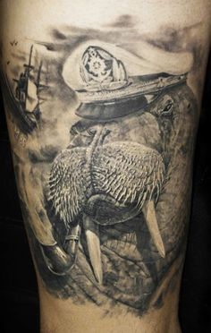 Tattoo Artist - Iwan Yug - Nautical tattoo - I don't particularly *want* a walrus tattoo, but the detail in this is amazing.