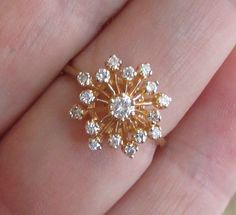 Vintage Diamond Cocktail or Right Hand Ring - Gorgeous Starburst Design! by Ringtique on Etsy