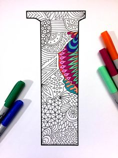 """Letter I Zentangle - Inspired by the font """"Deutsch Gothic"""""""