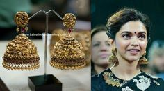 Nakshi jumkas with peacock design