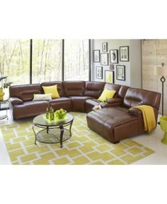 Beckett Leather Power Reclining Sectional Collection | Macys.com