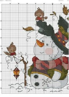 Zz Snowman Cross Stitch Pattern, Xmas Cross Stitch, Cross Stitch Needles, Counted Cross Stitch Patterns, Cross Stitch Charts, Cross Stitch Designs, Cross Stitching, Cross Stitch Embroidery, Christmas Embroidery