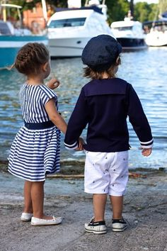 Adorable children in their nautical outfits