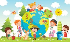 Children Having Fun Earth Stock Vector (Royalty Free) 1521376520 Art Drawings For Kids, Easy Drawings, Art For Kids, School Painting, Earth Day Activities, Christmas Drawing, Kid Character, Kindergarten Activities, Unique Art