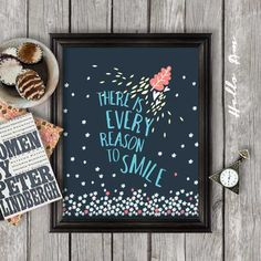 There is every reason to smile inspiration quote Wall by HelloAm, $5.00