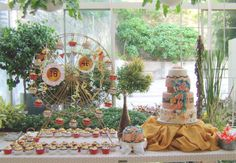 """This was a celebration of 2, his daughter's debut and his 46th birthday. Samantha wanted the rustic and cool vibe of Coachella, complete with ferris wheel and dreamcatchers. At the back of the cake was Sam's quote, """"The journey is the..."""