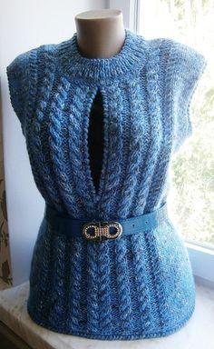 Knitted vest for women Жилет вязаный Голубое небо от 2014knitting