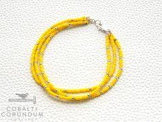 3 strand yellow MIYUKI seed bead bracelet  door cobaltcorundum