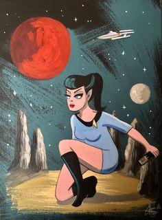 SPOCK STAR TREK CLASSIC TV SCI-FI 1960S FEMINIST EL GATO GOMEZ RETRO VINTAGE MR