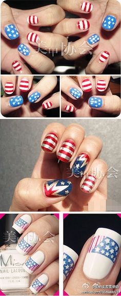 4th july nails. I like the one in the middle