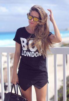 sunglasses all black shirt skirt handbag women clothing outfit fashion style apparel  Summer