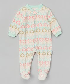 Another great find on #zulily! Vitamins Baby Ivory & Mint Hearts Footie by Vitamins Baby #zulilyfinds