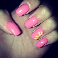 Acrylic nails done at #cortlandnails got a nice bright pink with a cute yellow sunflower on the ring finger #inlovewiththese