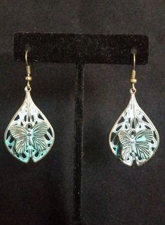 Oxidized Copper Butterfly Earrings