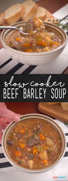 Crock Pot Beef Barley Soup Recipe If youve never cooked with barley before youre going to love it The healthy grain is superversatile with a pastalike consistency and ri. Crock Pot Slow Cooker, Crock Pot Cooking, Slow Cooker Recipes, Cooking Recipes, Crock Pot Beef, Stone Soup Recipe Crock Pot, Crockpot Beef Barley Soup, Beef Broth Soup Recipes, Crock Pot Soup Recipes