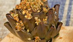 Farro-Stuffed Artichokes with Bagna Cauda - Farro Recipes Vegetable Entrees, Vegetable Salad, Farro Recipes, Veg Recipes, Parmesan Reggiano, Stuffed Artichokes, Dry Bread, Oven Racks, Soup And Salad