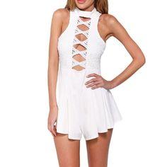 4ace3fea7dc Combinaison Sexy Macacoes Femininos Spaghetti Straps White Lace Jumpsuit  Women Short Romper Bodysuit 2015 Summer Playsuit