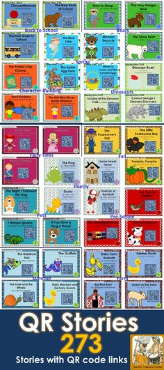 HUGE Collection of stories with QR code links! 273 stories with themes - bears, fall, farm, pets, etc. by Teacher Treasure Hunter