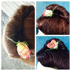 Simple Hair Up Do with Rose
