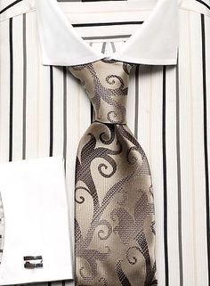 Dress Shirt NEW by Steven Land Spread Collar French Cuffs Striped DS1064bk