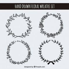 Hand drawn floral wreaths set