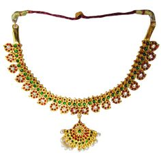 Temple Jewelry Short Necklace With Kemp & Pearls. Temple Jewelry, Bharatanatyam dance jewelry, Dance jewelry