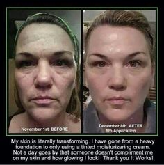 This before and after testimonial is using our It Works! Facial Wraps.  Individual results vary.