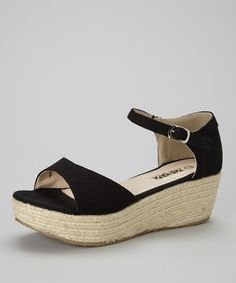 This Black Platform Sandal by Shoes of Soul is perfect! #zulilyfinds