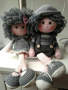 Amigurumi crochet DOLL Sweet cuddly doll with knitted dress // Галина Черкасова - Salvabrani Crochet Amigurumi, Crochet Doll Pattern, Crochet Slippers, Amigurumi Patterns, Amigurumi Doll, Doll Patterns, Crochet Patterns, Knitted Dolls, Crochet Dolls