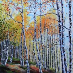 T I T L E: Birch Trees of Tahoe by Lisa Elley. 2015  I N S P I R E D* B Y: Birch Trees take me back to my childhood. Long walks in the crackling leaves, the smell of a wood fire burning, hot chocolate, exploring my grandpa's shed... This painting features a scene in amazing South Lake Tahoe, here in northern California. The Sierra Nevada mountains are magical all year round, and here they are in the fall blazing with color!   S I Z E: 30 X 30 X 1.5 Inches. This is a deep edge, archival ...