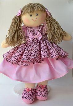 Bonecas de Pano Marrom e Rosa