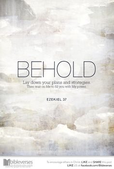 How often do we plan seminars, concerts and conferences — events that won't make a difference unless Christ breathes life into them? Only when the Holy Spirit fills us will we have something real to give...Read more at http://ibibleverses.christianpost.com/?p=119697 #devotional #behold #Ezekiel