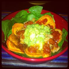 Taco salad, substituting Sweet Potato chips.  Easy!