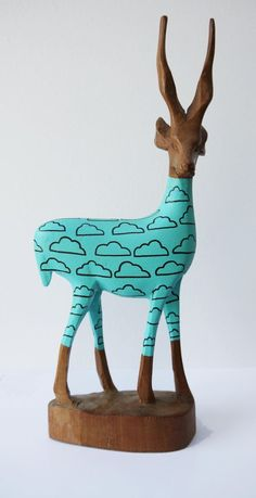 Vintage Retro Original Hand Carved African Hipster Gazelle - Aqua Blue Cumulus: