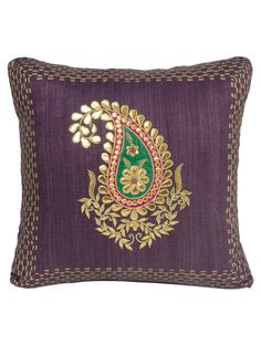 Wine Ghicha Silk Gota and Applique Work with Zardozi Embroidered Cushion Cover x Cushion Embroidery, Hand Work Embroidery, Embroidered Cushions, Hand Embroidery Patterns, Embroidery Suits, Cushion Covers Online, Cushion Cover Designs, Zardozi Embroidery, Indian Embroidery