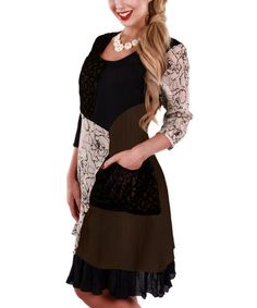 Another great find on #zulily! Beige & Black Floral Three-Quarter Sleeve Dress by Lily #zulilyfinds