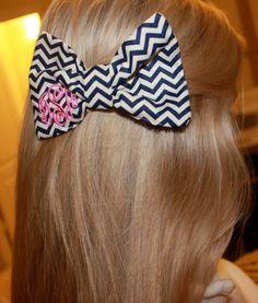Navy Chevron Monogram Bow Tie Hair Bow. Etsy