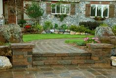 old stone and brick garden | Retaining Walls, Paver Stone Walls, Landscape Walls, Raised Hardscape ...